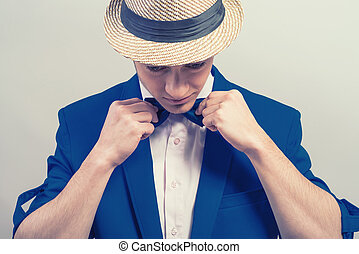 青, 蝶, ジャケット, 流行, 人, 帽子, 服