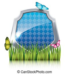 青, 蝶, grass., 飛行, 保護
