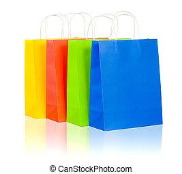 青, 袋, セット, 買い物, カラフルである, 黄色, 含む, 背景, 緑の白, 赤