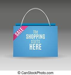 青, 袋, ペーパー, 買い物