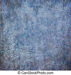 青, 装飾用である, グランジ, 抽象的, 暗い, 劇的, 背景, textured, 古い