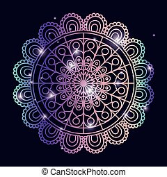 青, 装飾用, 花, カラフルである, 輝き, 色, 型, 暗い, 才知に長けている, 装飾用である, 背景, mandala