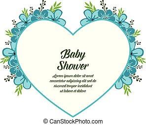 青, 装飾, フレーム, 花輪, イラスト, シャワー, ベクトル, 赤ん坊, カード