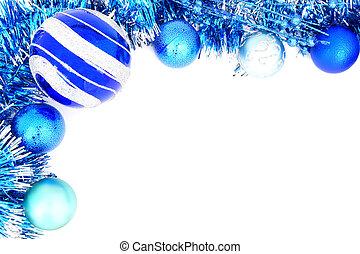 青, 装飾, ボーダー, クリスマス