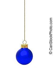 青, 装飾, 隔離された, 単一, 掛かること, 白い クリスマス
