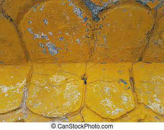 青, 要素, しみになる, 抽象的, 黄色のペイント, 明るい, 背景, 建築, オバール, 落ちる, white.