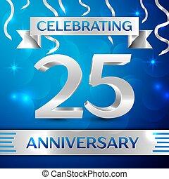 青, 要素, カラフルである, 20, 記念日, ベクトル, 年, バックグラウンド。, birthday, 5, リボン, テンプレート, 紙ふぶき, design., パーティー。, あなたの, 銀, 祝福