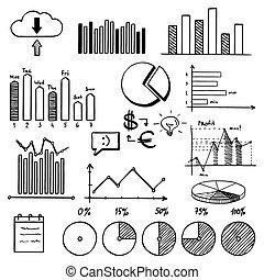 青, 要素, 仕事, 金融, ビジネス, いたずら書き, -, analytics, 手, バックグラウンド。, 概念...