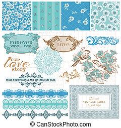 青, 要素, 型, -, ベクトル, デザイン, スクラップブック, 花