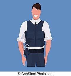 青, 警官, 概念, 警察, 平ら, 特徴, ユニフォーム, 監視, 士官, 背景, 専門家, 人, 肖像画, セキュリティー, マレ, 漫画, 職業