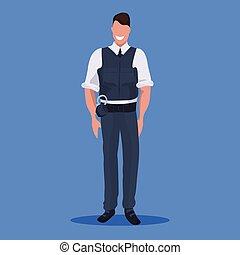 青, 警官, 概念, 警察, 平ら, 特徴, 監視, ユニフォーム, 長さ, フルである, 士官, 背景, 人, 専門家, セキュリティー, マレ, 漫画, 職業