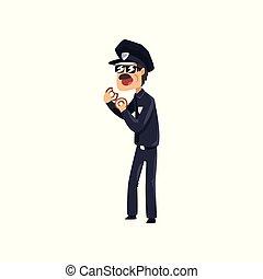青, 警察, ドーナツ, 警官, 特徴, イラスト, ユニフォーム, ベクトル, 士官, 背景, 食べること, サングラス, 白, 漫画