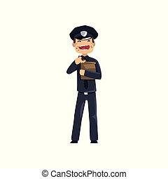 青, 警察, ドーナツ, 警官, 特徴, イラスト, ユニフォーム, ベクトル, 士官, 背景, 食べること, 白, 微笑, 漫画