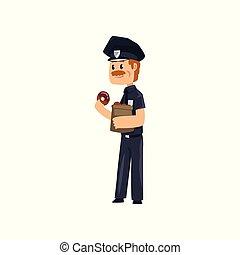 青, 警察, ドーナツ, 警官, 特徴, イラスト, ユニフォーム, 朗らかである, ベクトル, 食べること, 士官, 背景, 艶をかけられる, 白, 漫画