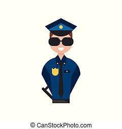 青, 警察, 警官, 特徴, イラスト, ユニフォーム, ベクトル, 士官, 背景, 白