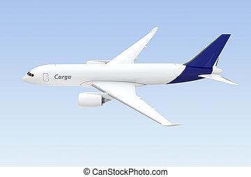 青, 貨物, ライト, 隔離された, 背景, 飛行機, サイド光景