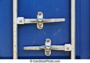青, 貨物 容器, contrainer, 出荷, 貨物, 錠, ドア