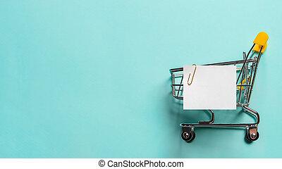 青, 買い物リスト, カート, ノートペーパー, 白