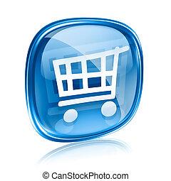 青, 買い物, 隔離された, カート, バックグラウンド。, ガラス, 白, アイコン