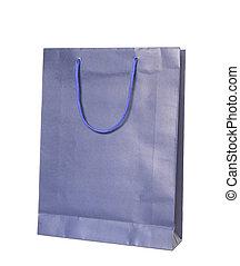 青, 買い物, 隔離された, 袋, 背景, 白