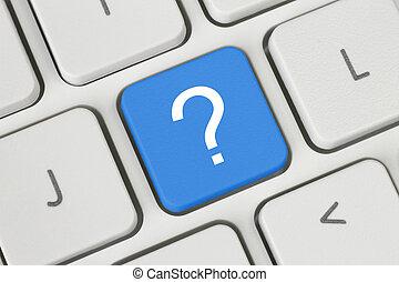 青, 質問, ボタン