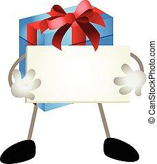 青, 贈り物, 看板, 保有物, ブランク, マスコット