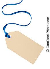 青, 贈り物, 隔離された, タグ, 背景, 白い クリスマス, リボン