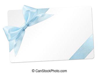 青, 贈り物, 隔離された, 弓, リボン, 背景, 白, カード