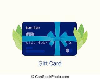 青, 贈り物, bow., リボン, 銀行カード