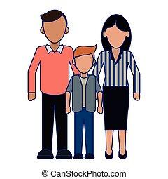 青, 身元を隱した, 家族, 経営者, ライン, 息子, 親