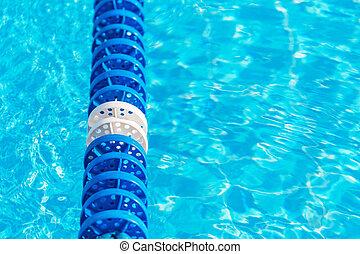 青, 車線, 水, マーカー, プール, 水泳