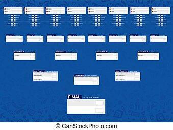 青, 選手権, スケジュール, 抽象的, トーナメント, フットボール, バックグラウンド。, ブラケット