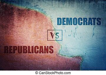 青, 選挙, 別, 赤, 政治的である, 共和党員, 選択, 壁, パーティー。, concept., 分裂, 民主主義者, 側, 未来, コンクリート, ∥あるいは∥, 戦略上である, 大統領である, ろば, 2, ∥対∥, 割れた, ∥対∥, 半分, 象