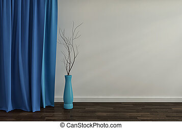 青, 部屋, render, vase., ガラス, 背景, 内部, 空, 3d