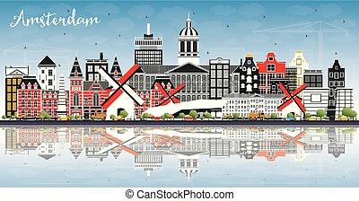 青, 都市, オランダ, 建物, 色, 空, スカイライン, reflections., アムステルダム