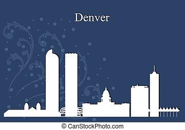 青, 都市, シルエット, デンバー, スカイライン, 背景