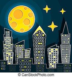 青, 都市, シルエット, 大きい, moon., 空, イラスト, 暗い, ベクトル, 背景, 夜, 風景