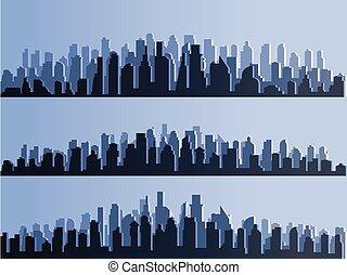 青, 都市, シルエット, 町, ビジネス, 都市, centers., パノラマ, 大きい, 隔離された, 建物, ベクトル, デザイン, 地平線, 超高層ビル, たそがれ, 日没, illustration.