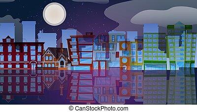 青, 都市, フルである, illustration., 紫色, moon., ネオン, 白熱, ベクトル, 水, ライト, 明るい未来, 背景, 夜, 都市の景観, 反映, 暗い, 未来派