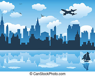 青, 都市, 反射, 空, 水, ∥そ∥