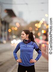 青, 都市, 女, 若い, 動くこと, sweatshirt