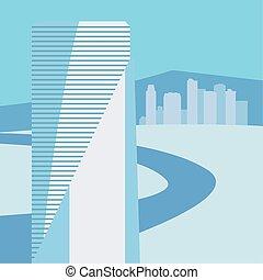 青, 都市, 建物, 都市 スカイライン, 道