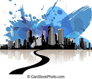 青, 都市, 抽象的, 超高層ビル, clouds.