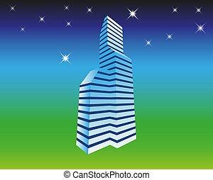 青, 都市, 概念, 照らされた, 夜, ネオン, 現代, lights., パノラマ, 白熱, ベクトル, 超高層ビル, 背景, 色, 都市の景観, すみれ, 未来派