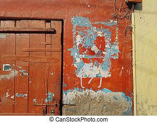 青, 都市, 権利, 古い, 縦, 残物, 抽象的, 壁, 表面, stripe., 壊される, スラム, 黄色の背景, 木製である, ペーパー, ドア, 赤