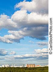 青, 都市, 雲, 大きい空, 下に, 白