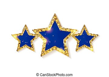 青, 金ライト, 印。, 3, stars., レトロ