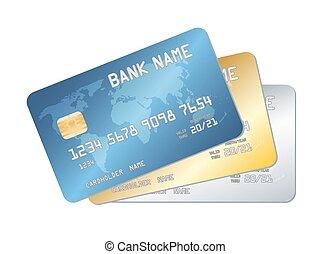 青, 金, クレジット, ベクトル, 銀, カード