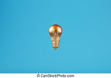 青, 金, バックグラウンド。, 電球