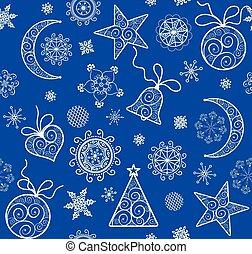 青, 金, パターン, 壁紙, 型, クリスマス